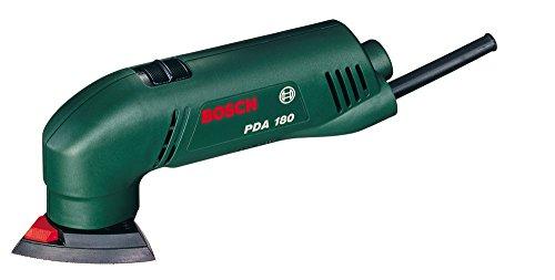 Bosch DIY Deltaschleifer PDA 180, 3 Schleifblätter, Karton (180 W, Schwingzahl 18.400 min-1, Schleifplattenmaß über Eck 92 mm, Schwingkreis-Ø 1,5 mm)