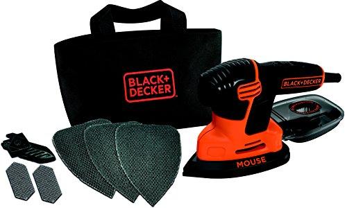 Black+Decker Dreieckschleifer Mouse KA2000 / Kraftvolle Schleifmaschine mit Staubfangbehälter inkl. Mikrofilter / Für das Abschleifen selbst an schwer zugänglichen Stellen / 1 x Schleifer 120 W