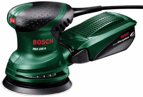 Bosch Exzenterschleifer PEX 220 A (Schleifblatt K 80, Koffer, 220 W, Schleifteller-Ø 125 mm, Microfilter System, Schwingzahl 4000 - 24000 min-1, Exzentrizität 4 mm)