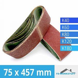 10 Stück Gewebe-Schleifbänder 75 x 457 mm Körnung je 2 x 40 / 60 / 80 / 120 / 180 für Bandschleifer / Schleifband
