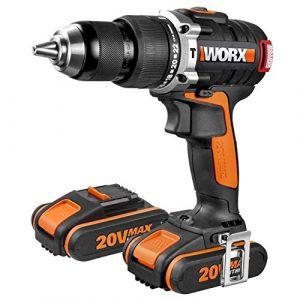 WORX WX373 Akku Schlagbohrschrauber Set – Bürstenloser Akkuschrauber 20V, 2 Li-Ion Akkus, Koffer & Schnell-Ladegerät – 60Nm, 2-Gang-Getriebe & LED-Licht – zum Schrauben, Bohren & Schlagbohren