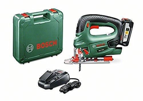 Bosch Akku Stichsäge PST 18 LI (Akku, Ladegerät, Spanreißschutz, Sägeblatt, 18 Volt System, 2,5 Ah)