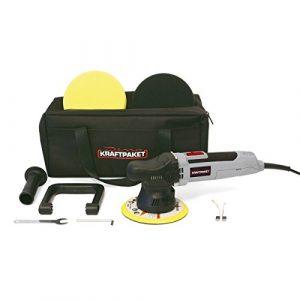 Dino KRAFTPAKET 9mm-650W Exzenter Poliermaschine Stufenlos im Set mit Polierschwamm Polierteller Tasche für Auto KFZ Boot