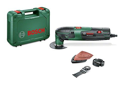 Bosch Multifunktionswerkzeug PMF 220 CE (Tiefenanschlag, 2x Sägeblatt, Schleifplatte, 6tlg Schleifpapier-Set, Koffer, für Starlock Zubehör, 220 Watt)