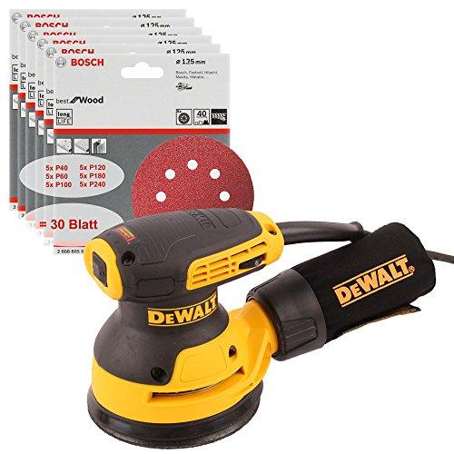 DeWALT Exzenterschleifer DWE6423-QS, 125mm, Klettfix-System, 280W, 230V + 30x Schleifpapier