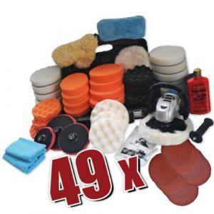 Kingbarney XXXXL Profiset – Poliermaschine/Schleifmaschine 1600 Watt Set 5 + Polierschwamm Zubehörset – inkl. Politur – 49 Teile – Auto polieren