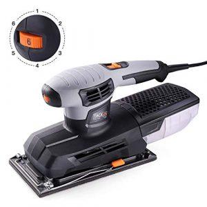 Schwingschleifer, Tacklife 300W Schleifmaschine von 230mm*115mm Schleifplatte, 6.000-12.000/min mit Klemm-Befestigung, eine Microfilter Staubfangbox, 3M Kabel, 6 Geschwindigkeiten verstellbar/PSS02A