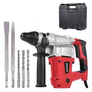 Matrix 120200440 Bohrhammer SDS Plus im Koffer, Stemmhammer 850 Watt, inkl. 2 Meißel, 3 Bohrer 8mm, 10mm, 12mm x 150mm, 3400 Schläge/Min; 4 Joule Schlagkraft rot, schwarz 40cm