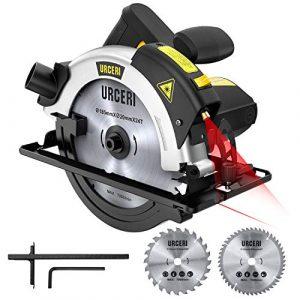 URCERI Kreissäge 1200 W 5500 rpm 185mm mit Laser, 2 Klingen Ø185mm (48T & 24T), Schnitttiefe 65mm (90 °), 42 mm (45 °)