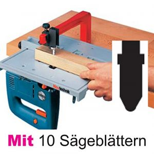 Neutechnik Präz.-Stichsägetisch für jede Stichsäge – Basisgerät + 10 extra langen Sägeblätter Typ BOSCH