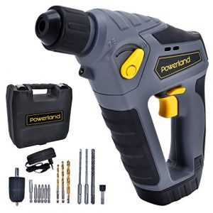 Powerland HD02 14,4V Akku-Bohrhammer DIY Heimgebrauch (Lithium Ionen, 1,1 J, SDS-plus-Aufnahme, LED-Licht, inkl. 1,5 Ah Akku und Ladegerät)