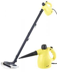 Sichler Haushaltsgeräte Dampfbesen: 2in1-Hand-Dampfreiniger, Dampfmopp & -Besen, 13-tlg. Zubehör, 1.050W (Dampfgerät)