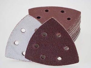 50 Blatt Klett Schleifdreiecke für Deltaschleifer – 93 x 93 x 93 mm, 6 Loch – Korn 80 / Deltaschleifer/Schleifdreiecke / Schleifpapier