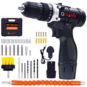 Akkuschrauber, GOXAWEE 100 Pcs Akkuschrauber, 2 Lithium-Ionen-Batterien 1500mAh, 2-Speed 12V, maximales Drehmoment: 38-42 Nm