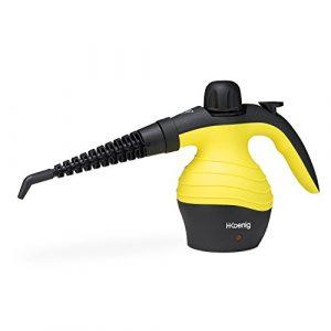 H.Koenig NV60 Handdampfreiniger / 6 verschiedene Aufsätze / 3,5 bar / 350ml Kapazität / 1000W / gelb