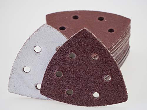 50 Blatt Klett Schleifdreiecke für Deltaschleifer – 93 x 93 x 93 mm, 6 Loch – Korn 40 / Deltaschleifer/Schleifdreiecke / Schleifpapier
