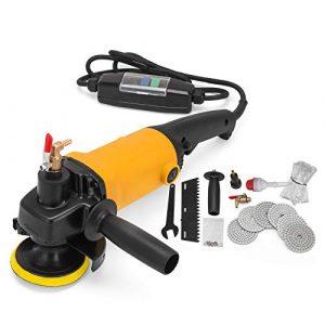 Mophorn Schleifmaschine 900 Watt Nass Polierer Kit Professionelle Schleifmaschine Elektrische Nass Polierer Set mit Wasserzuleitung und Schlauchadapter 8 Farben Polierscheiben (900 W)