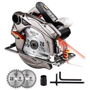 TACKLIFE Kreissäge, PES01A 1500W 4500RPM Handkreissäge mit Reinkupfer Motor, Bleche 185mm, Einstellbare Schnitttiefe (0-63mm), Abschrägungswinkel (0-45°), Leichter Aluminiumschutzgehäuse, 3m Kabel