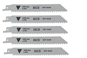 5 x DKB Säbelsägeblätter Säbelsäge Sägeblätter Tigersäge Holz 150mm