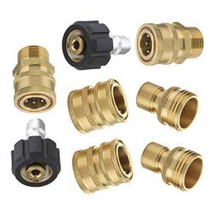 """8pcs Ultimate Hochdruckreiniger Adapter Kit Auto Spritzpistole Anschluss Set M22 3/8"""" Quick Connect 3/4″ Schnellspanner"""