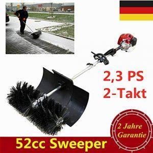 2.3PS 52cc Benzin Kehrmaschine Schneefräse YUNRUX 2-Takt Benzin Motorbesen mit Fahrgestell Schneeschieber Schnellwechsel