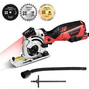 COSTWAY Handkreissäge Tauchsäge Laser Micro Minisäge ✔4500 r/min ✔Kreissäge inkl. 3 Sägeblätter ✔705 W ✔inkl. Staubschlauch, Parallelführung ✔ Sägeblattφ89 mm✔Max. 28,5 mm