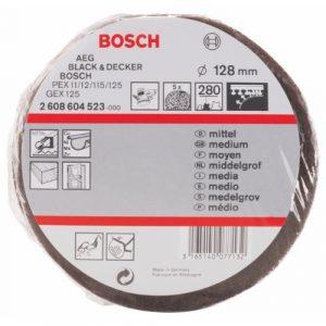 Bosch Professional Schleifvlies für Exzenterschleifer (5 Stück, Ø 128 mm, Körnung 280, mittel)