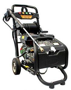Benzin Hochdruckreiniger mit Schlauchtrommel | max. 220 bar – 3200 PSI | 7 PS Motor mit 210 ccm | Reinigungsmaschine mit 5 Düsen