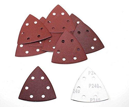 25 Blatt Klett Schleifdreiecke für Deltaschleifer - 93 x 93 x 93 mm, 6 Loch - Korn 80 / Deltaschleifer / Schleifdreiecke / Schleifpapier