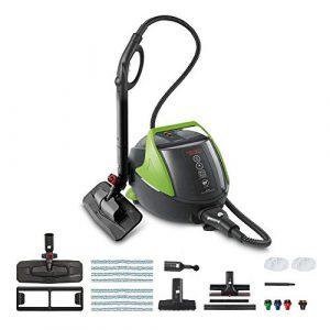 Vaporetto PRO 95 Flexi Dampfreinigungsgerät mit 5 BAR, ständig nachfüllbar Wassertankkapazität 1.3 L und Turbo Funktion, 1100 Watt, regulierbarer Dampf, 18/8 Edelstahl, 1.3 liters, Schwarz_grün