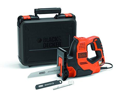 Black+Decker 3-in-1 Autoselect Universalsäge Scorpion 500W RS890K - Elektrische Mehrzwecksäge Hand-, Stich- und Astsäge mit Koffer - 23mm Hublänge
