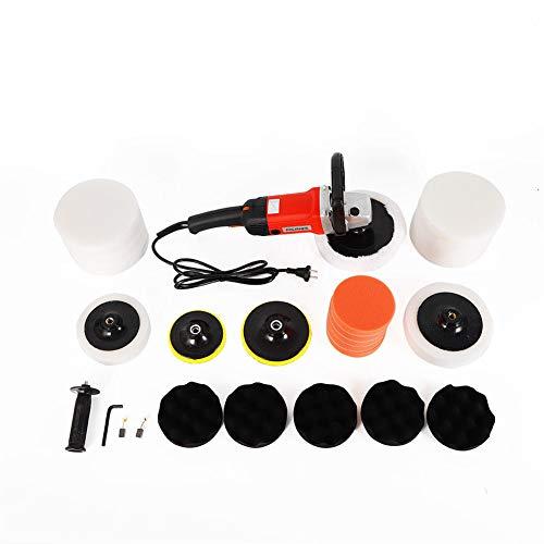YIYIBY Exzenter Poliermaschine Polierer Set Schleifmaschine mit stufenloser Drehzahlregelung und Zubehör+ Polierschwamm Zubehörset+Rotationsteller