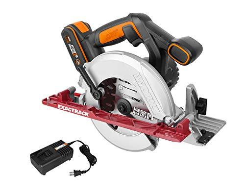 WORX 20V Akku Kreissäge WX530, Powershare, 2,0Ah, 165mm, ExacTrack System, Aluminium Sockel, Schnittwinkel bis 50°, 18V