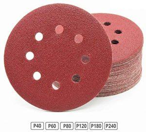 120 Stück Klett-Schleifscheiben Ø 125 mm Sortiment: Körnung je 20 x 40/60/80/120/180/240 für Exzenter-Schleifer 8 Loch Scheiben Klett Schleifpapier