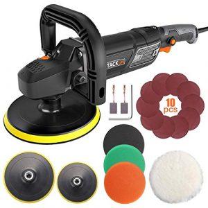 Poliermaschine, Tacklife 1500W Polierer mit Variable Geschwindigkeit, LCD-Display, 180mm Polierteller/polieren Pad/Wollscheibe, D-Griff/Zusatzhandgriff geeignet/PPGJ01A